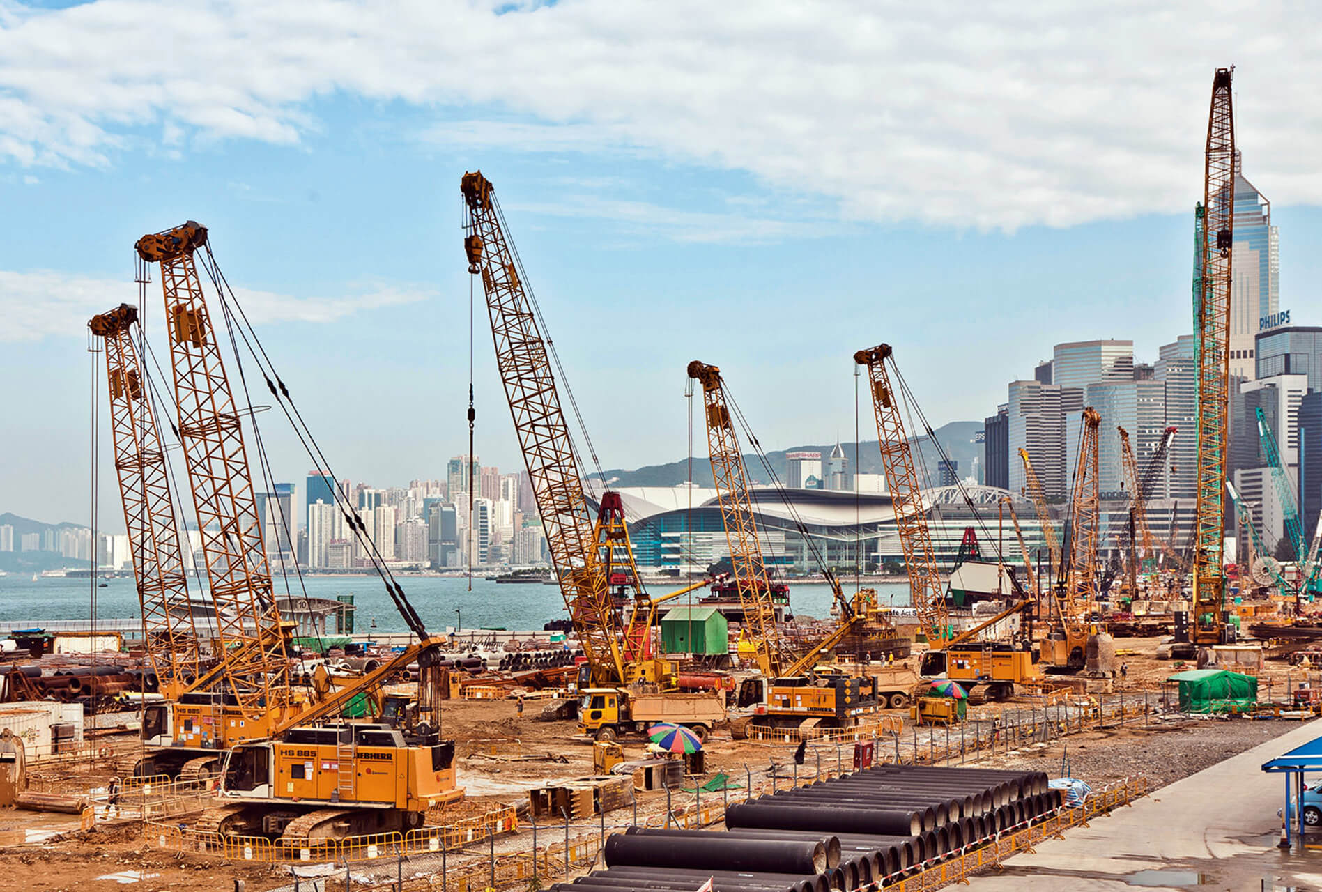 View To The Construction Sites Near The Harbor Of Victoria In H