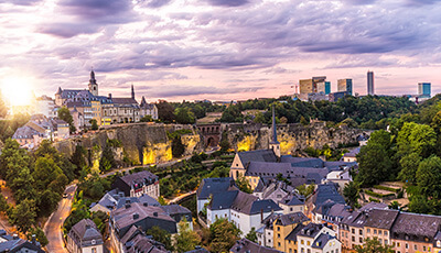 Luxembourg Kirchberg At Sunset